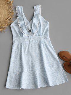 Vestido De Encaje Colgando Crochet Cuello Volantes - Floral L
