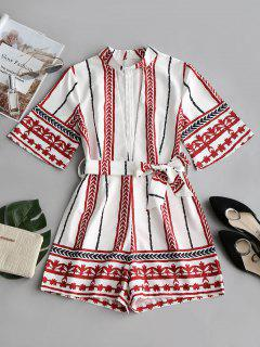 High Neck Cut Out Printed Belted Romper - White M