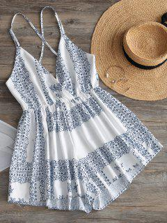 High Waist Printed Backless Cami Romper - White M