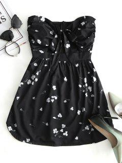 Floral Cut Out Tie Tube Dress - Black L