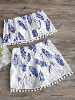 Pompoms Strapless Printed Top And Shorts Set - White M