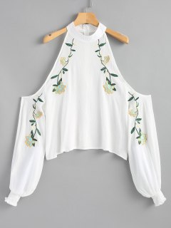 Smocked Cold Shoulder Floral Embroidered Blouse - White S