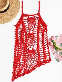Crochet Beach Slip Dress Cover Up - Red