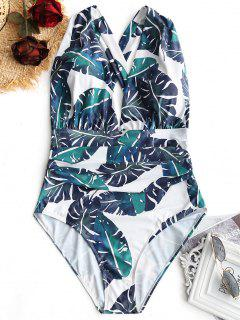 Front Crossed Palm Leaf Plus Size Ruched Swimsuit - White And Green 3xl
