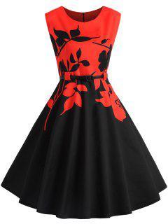 Robe Florale Contrastante Saint-Valentin Grande Taille - Noir&rouge 5xl