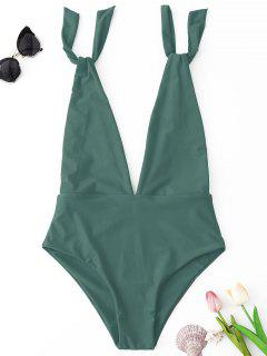 Plunge One Piece Swimsuit - Green L