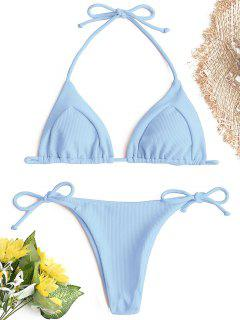 Ribbed String Bikini Set - Blue L