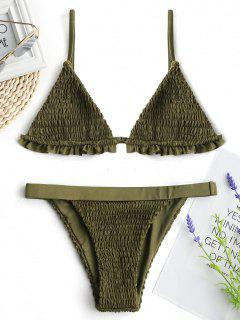 Ruffles Bralette Smocked Bikini Set - Army Green M