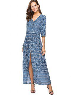 Printed Button Up Slit Maxi Dress - Cadetblue L