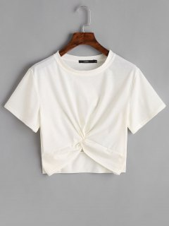 Cotton Twist Cropped Top - White S