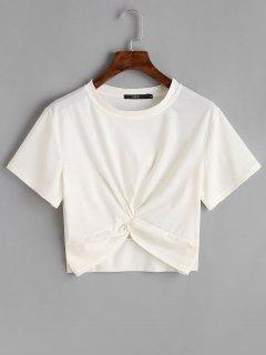 Cotton Twist Cropped Top - White M