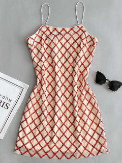 Slip Lattice Sequins Party Dress - Red M