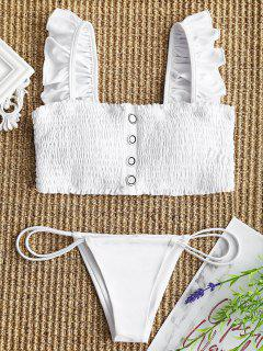 Ruffles Smocked Bikini Top With Thong Bottoms - White S