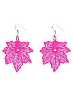 Maple Leaf Drop Earrings - Rose Red