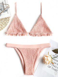 Ruffles Bralette Smocked Bathing Suit - Shallow Pink Xl