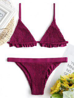 Ruffles Bralette Smocked Bathing Suit - Purplish Red L