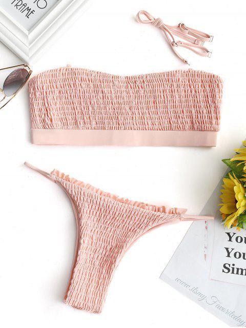 Conjunto de bikini con rotos y falda sin tirantes - Rosado Claro L Mobile