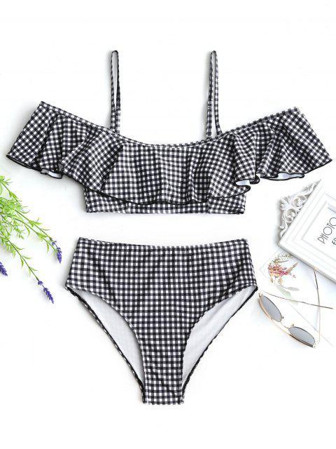 Bikini Volanté à Carreaux à Taille Haute - Blanc et Noir S Mobile