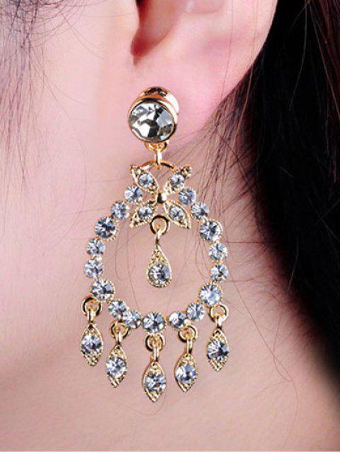 Boucles d'oreilles en forme de goutte en faux diamants - Or  Mobile