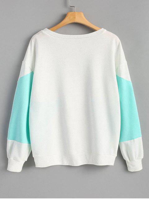latest Piped Two Tone Sweatshirt - WHITE M Mobile