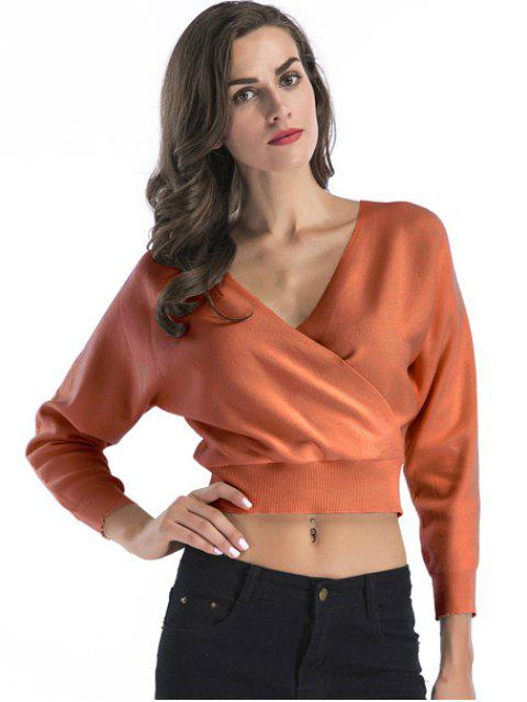 outfits Surplice Short Sweater - PEARL KUMQUAT L Mobile