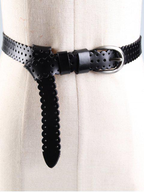 women Hollow Out Pattern Embellished Cowhide Skinny Belt - BLACK  Mobile