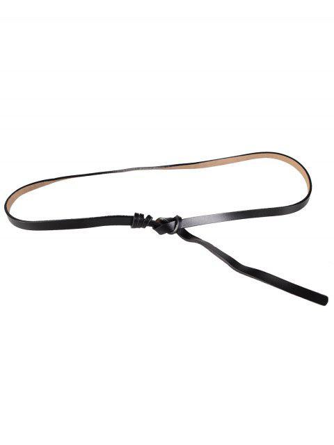 Verknotetes Kunstleder Skinny Belt - Schwarz  Mobile