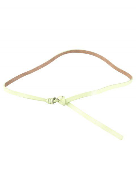 new Knotted Embellished Faux Leather Skinny Belt -   Mobile