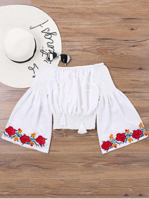 shop Embroidery Bell Sleeve Blouse - WHITE XL Mobile