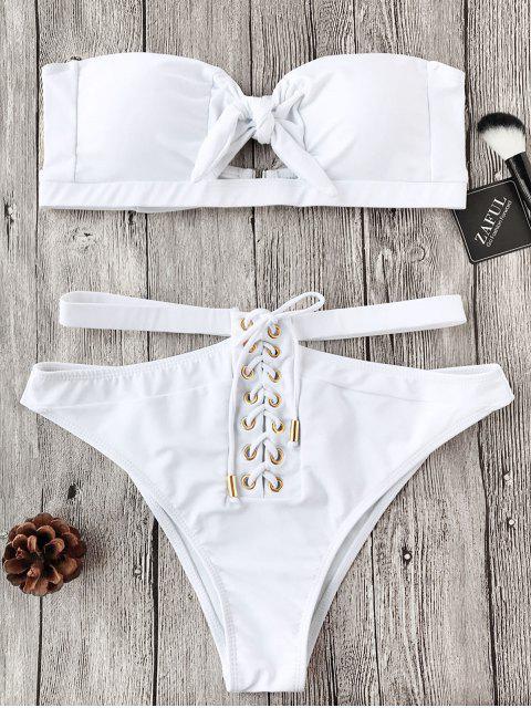 Schnürung Knoten Bandeau Bikini-Set - Weiß L Mobile