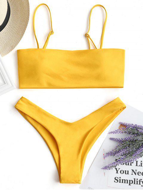Hohe Schlitz Cami Bikini Set - Gelb M Mobile