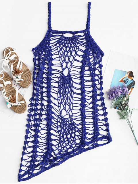 buy Crochet Beach Slip Dress Cover Up - ROYAL ONE SIZE Mobile