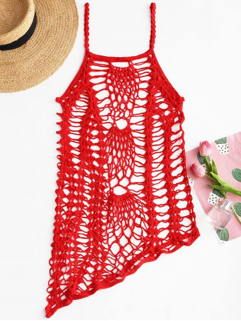 Crochet Beach Slip Dress Cover Up - Rojo Única Talla Mobile