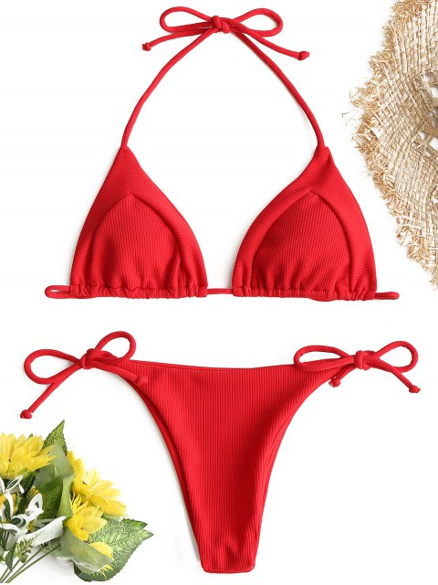 outfits Ribbed String Bikini Set - RED S Mobile