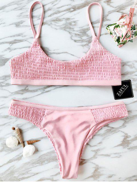 Scoop Smocked Bikini Set - ROSE PÂLE M Mobile