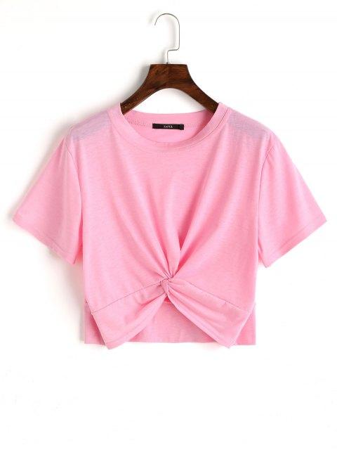 Top corto de algodón retorcido - Rosado M Mobile