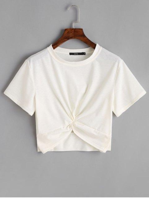Top corto de algodón retorcido - Blanco M Mobile