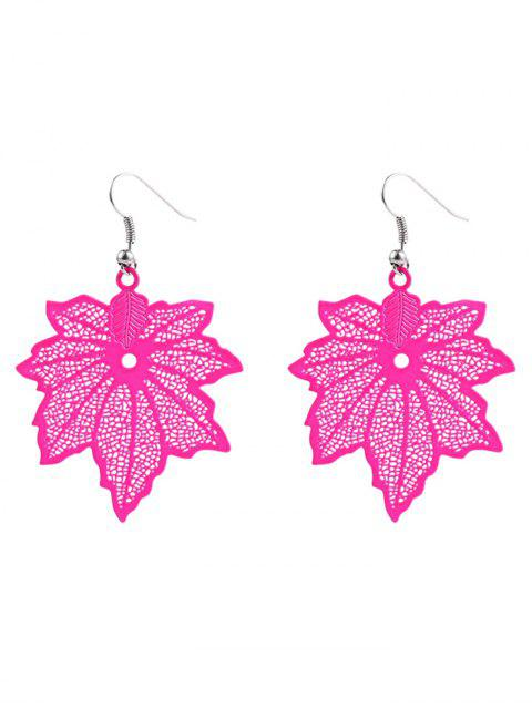 Boucles d'oreilles en feuille d'érable - Rose rouge  Mobile
