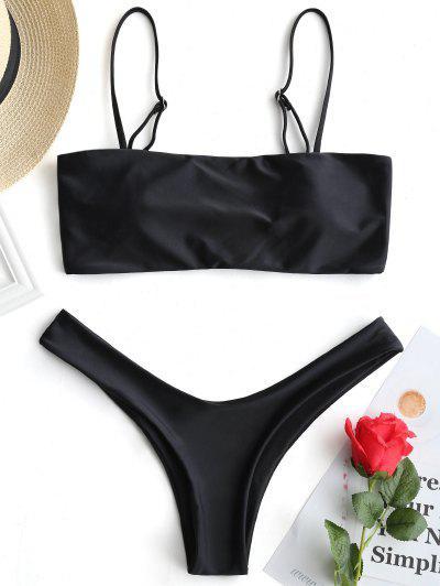High Cut Cami Bikini Set - Black M