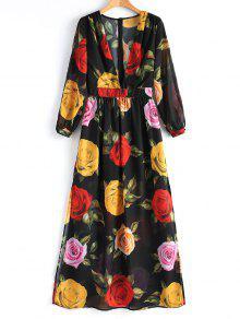 فستان ماكسي عالية الانقسام طباعة الأزهار طويلة الاكمام  - الأزهار Xl