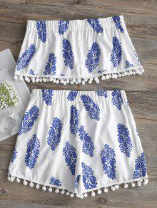 Pantal Set Pompoms Y Tirantes 243;n Top Blanco De S Estampado Sin qPwrIUP