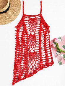 الكروشيه شاطئ زلة اللباس التستر - أحمر