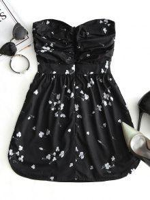 S Vestido De Floral Negro Lazo Con Tubo Corte 404pwq