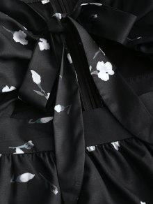 Lazo Tubo Vestido S Floral Con Corte De Negro zHqxq7Ew