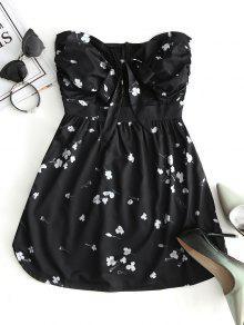 فستان ذو فتحات طباعة الأزهار - أسود M