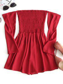 فستان مكشوف الأكتاف بصدر منمق مرن - أحمر S
