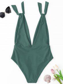 Costume da bagno intero con scollo profondo verde costumi - Costume da bagno intero con gonna ...