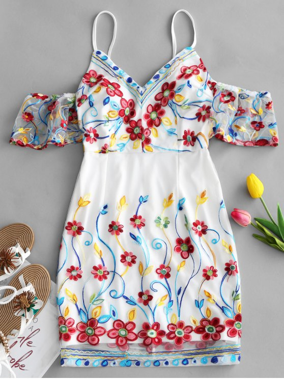 women's Cold Shoulder Floral Embroidered Mini Dress - WHITE S