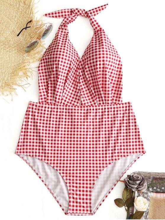 Halter Plaid tallas grandes traje de baño - Comprobado 3XL