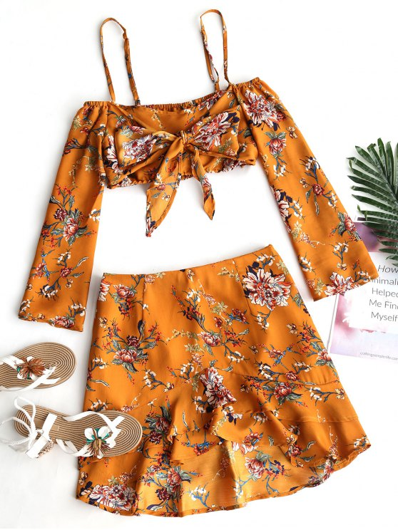 buy Floral Cold Shoulder Top and Ruffle Skirt Set - LIGHT BROWN S